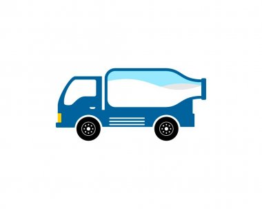Transportation truck with delivery milk bottle icon