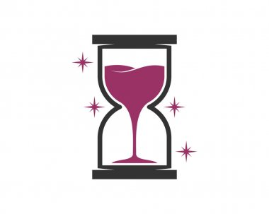 Wine time with hourglass shape icon