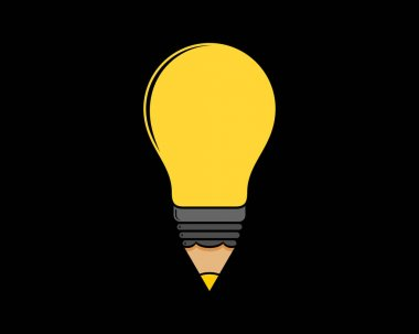 Combination pencil with light bulb logo icon