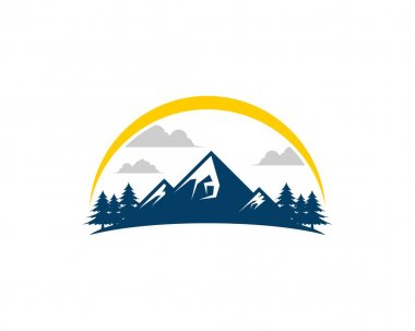 Mountain pine forest with yellow swoosh icon