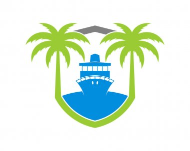 Shield protection with palm tree and cruise ship icon