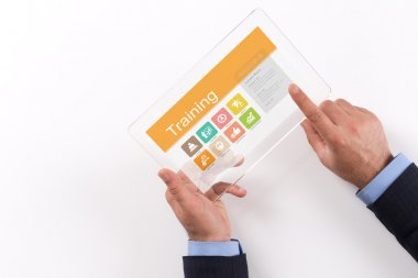 Hands Holding Transparent Tablet PC