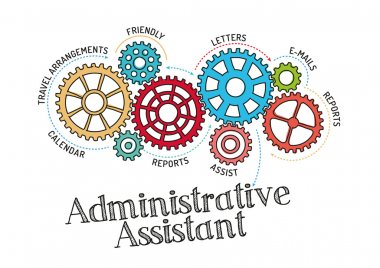 Gears and Mechanisms with text Administrative Assistant