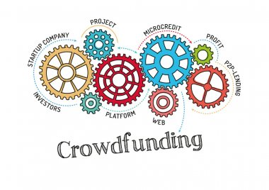Gears and Mechanisms with text Crowdfunding
