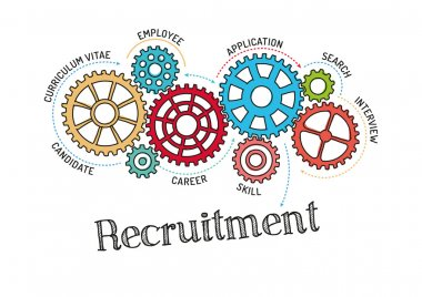Gears and Mechanisms with text Recruitment