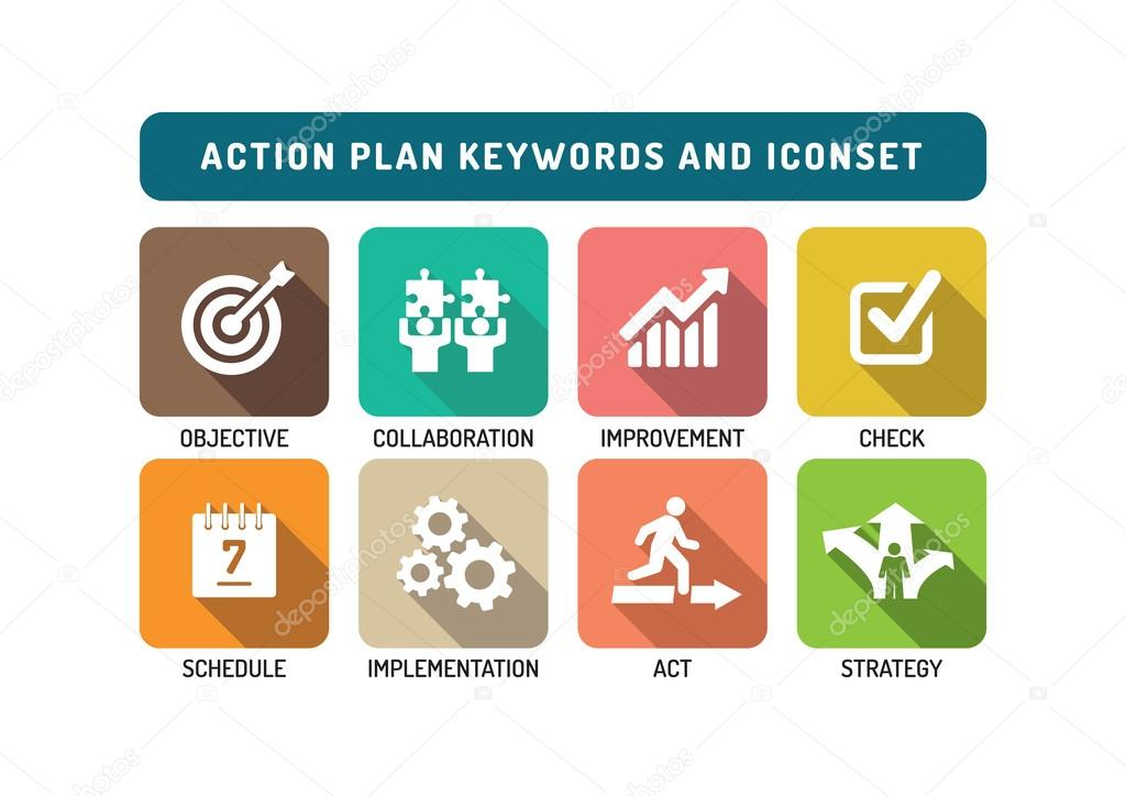 Action Plan Icons Set  Stock Vector  Garagestock