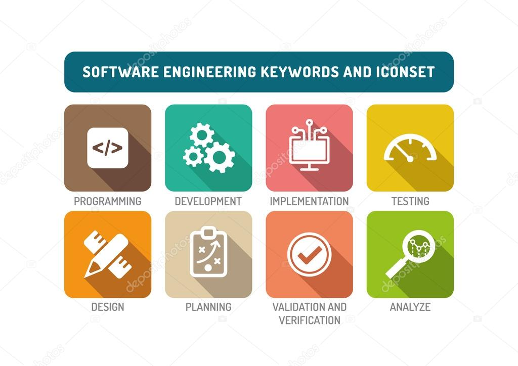 software engineering icons set � stock vector