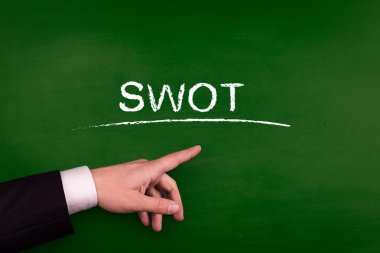 Businessman pointing on swot