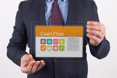 Businessman holding transparent tablet pc
