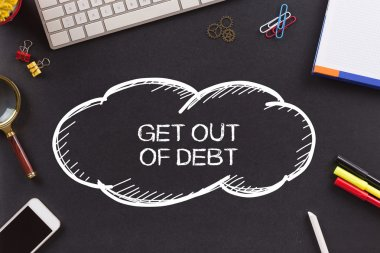 GET OUT OF DEBT text