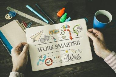 WORK SMARTER sketch on notebook