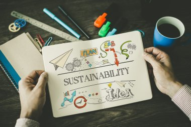 SUSTAINABILITY sketch on notebook