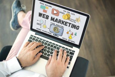 WEB MARKETING text on screen