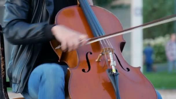 Utcai zenész játszik a parkban található egy nagy város.