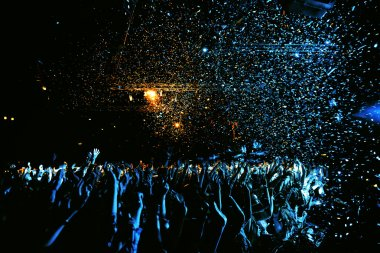 night club party event concert with crowd of people at the stage