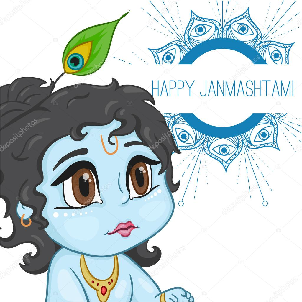 hand drawn little baby god krishna in anime style with a pot of porridge mandala words happy janmashtami cute blue black hair and brown eyes from india stock vector c maryhat 115025060 https depositphotos com 115025060 stock illustration hand drawn little baby god html