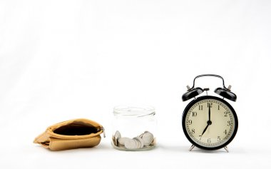 Golden wallet and money box with alarm clock