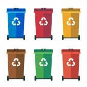 Fotografia Diversi colorata cassonetti, bidoni della spazzatura, lordinamento piatto illustrazione vettoriale