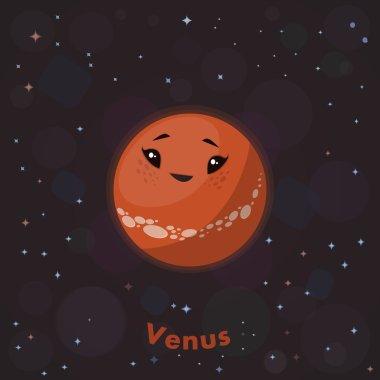 Cute  planet Venus . Vector illustration