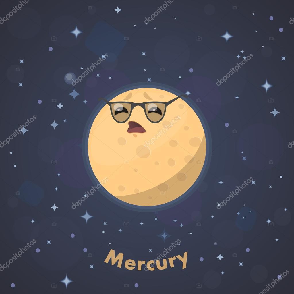 Cute Planet Mercury. Vector illustration — Stock Vector ...