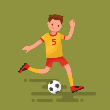 Soccer player kicks the ball. Vector illustration