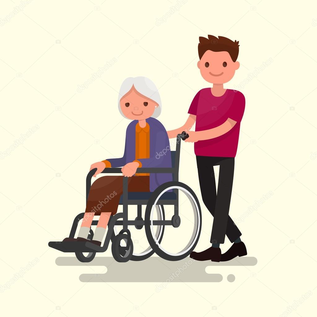 사회 복지사는 wheelchai에 장애인된 할머니와 함께 산책 — 스톡 벡터 lexam