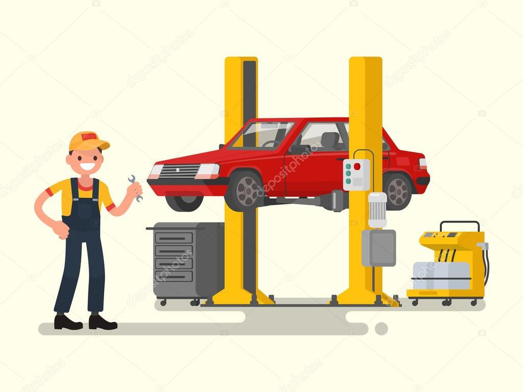 Auto Repair Nearby >> Car Repair Auto Mechanic Near The Car Lifted On Autolifts