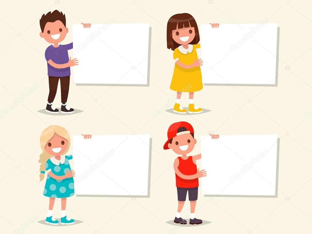 set of templates children hold a board vector illustration stock vector 115384692 - Templates For Children