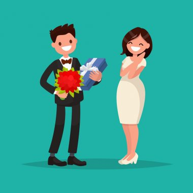 Man dressed in a suit gives a woman a bouquet of flowers and a gift. Vector illustration of a flat design clip art vector