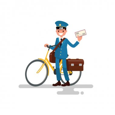 Cheerful postman with the bike and the letter in his hands. Vect