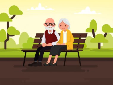 Elderly couple outdoors. Grandparents are sitting on a bench in the park. Vector illustration of a flat design clip art vector