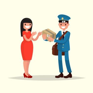 Postman gives a woman a parcel. Vector illustration