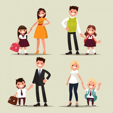Set of characters. Parents and children are students together. B