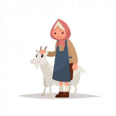 Grandmother with a goat. Vector illustration