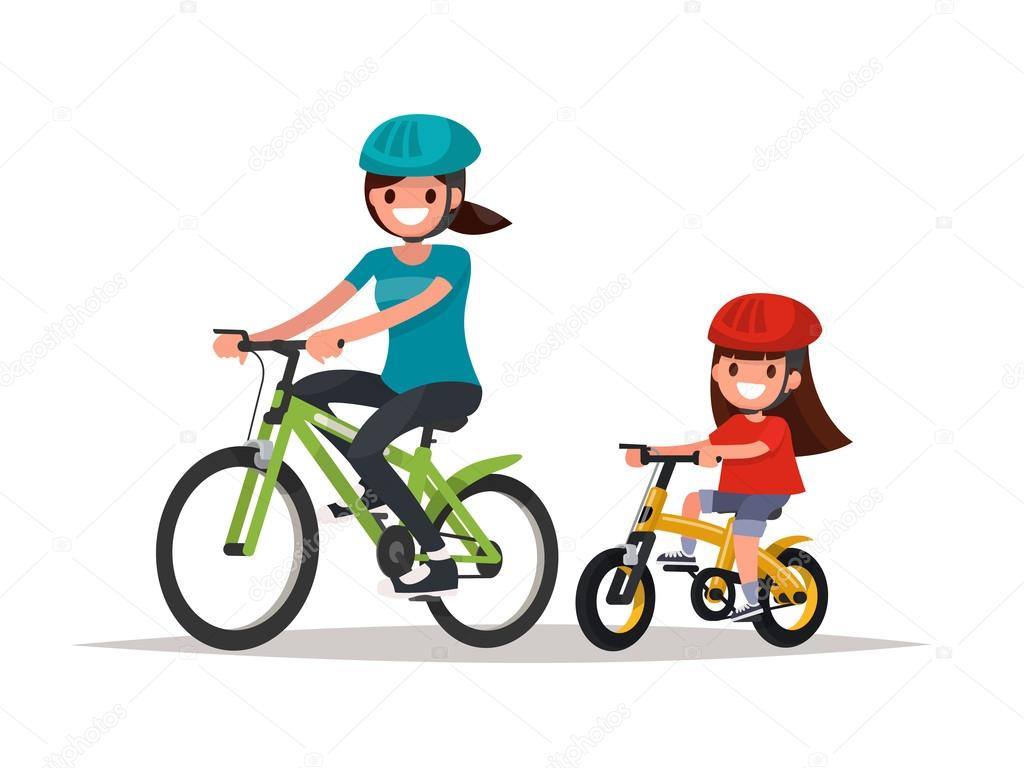 Cycling. Mother and daughter are riding bikes. Vector illustrati ...