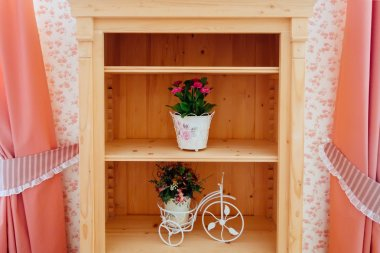 Beautiful shelves with flowers