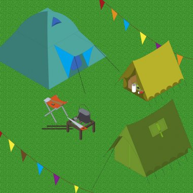camping tents spot bonfire