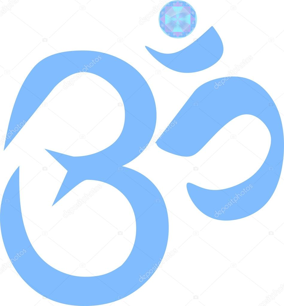 Om Symbol With Jewel In Blue Illustration Stock Photo