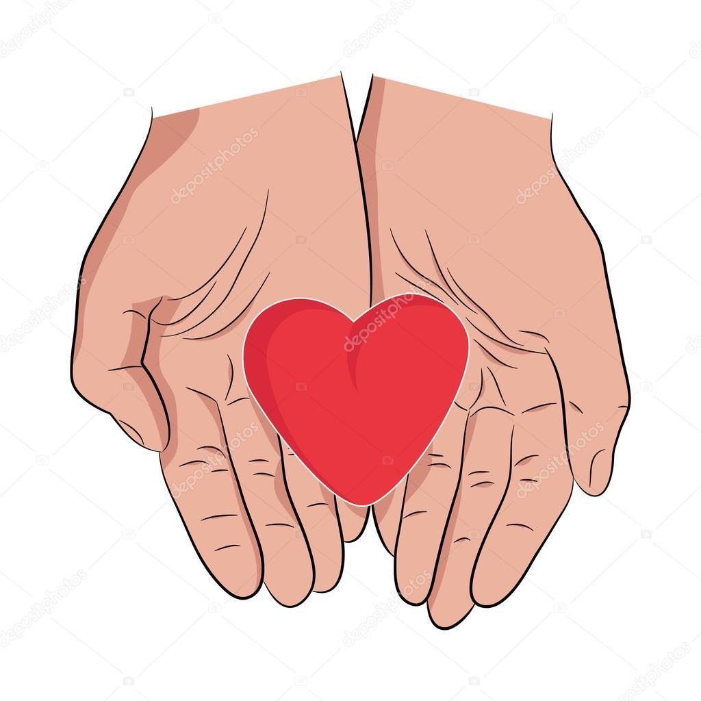 Сердце в руках картинки нарисованные