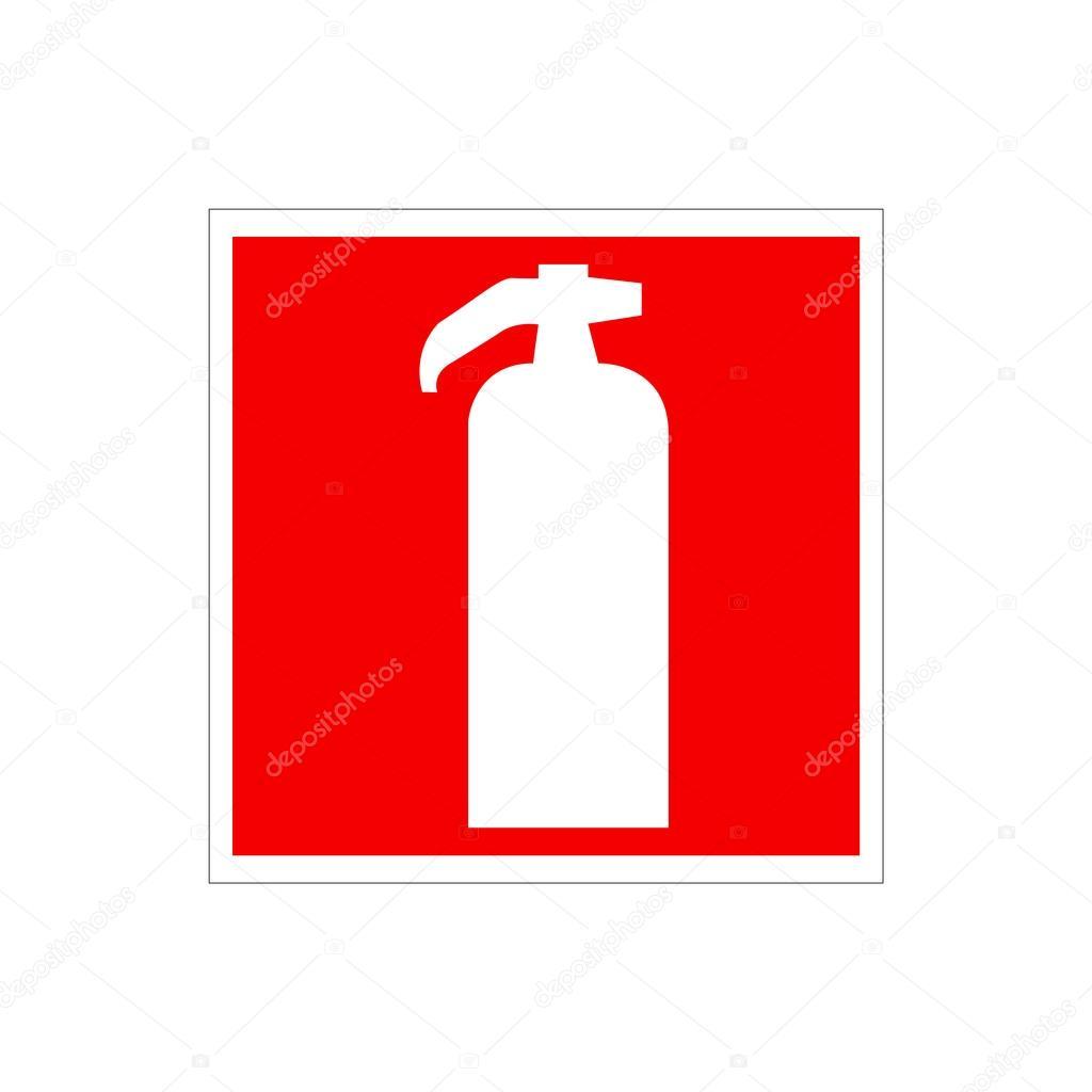 Dessin Panneau Attention dessin d'un extincteur rouge sur le mur. panneau de signalisation de
