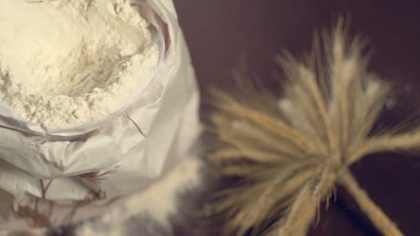 White wheat flour bag. Bakery healthy nutrition
