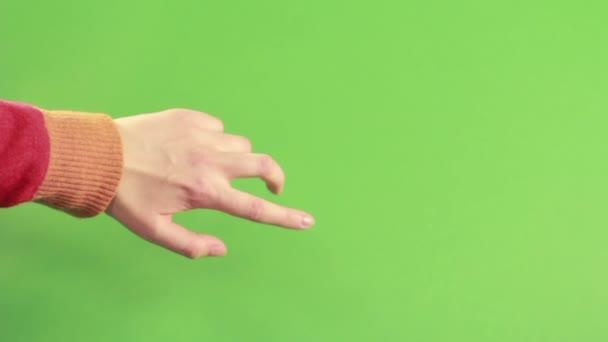 Izolované rukou gesto na zeleném pozadí ve studiu