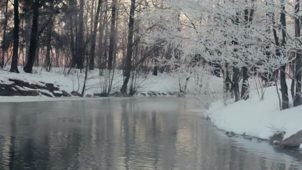 Winterlandschaft. Winter Fluss und Flussufer mit Schnee bedeckt