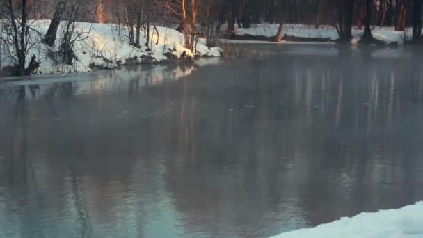 Winter riveru. Mlha nad řekou ve winter parku. Zimní krajina. Zamlžené řeka