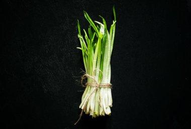 Food background, fresh wild garlic sprouts