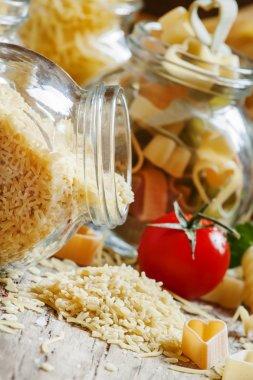 Dry Italian pasta alpfabeto in the form of letters