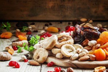 Delicious dried figs and dried fruits and nuts