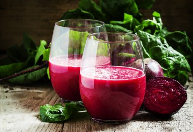 Beetroot smoothie in a large glasses