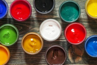 Palette of paints for drawing