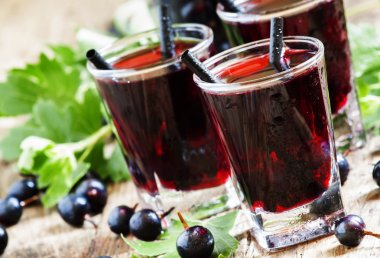 Cold vodka with blackcurrant juice